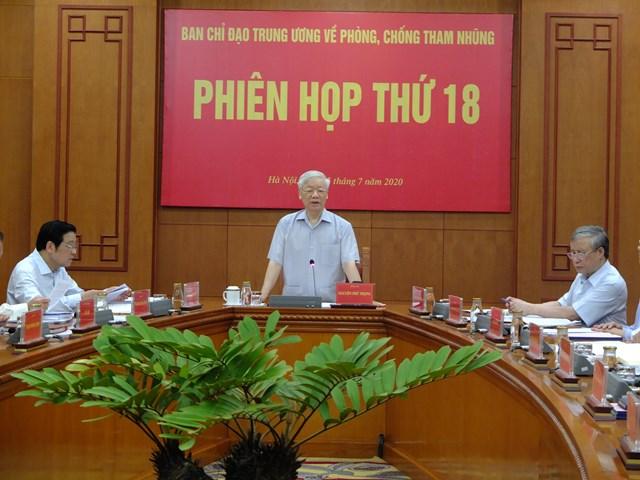 Tổng Bí thư, Chủ tịch nước Nguyễn Phú Trọng chủ trì phiên họp thứ 18 của Ban Chỉ đạo Trung ương về phòng, chống tham nhũng.