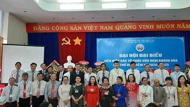 Ban chấp hành Liên hiệp các tổ chức hữu nghị tỉnh Khánh Hòa nhiệm kỳ 2020 -2025 ra mắt đại hội.