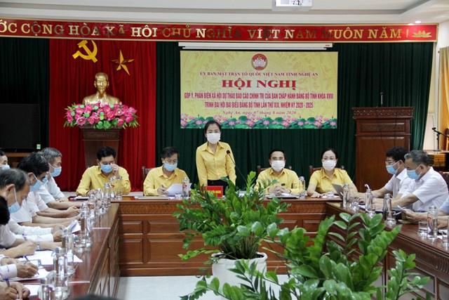 Chiều ngày 7/8, Ủy ban MTTQ tỉnh Nghệ An tổ chức Hội nghị góp ý, phản biện về dự thảo báo cáo chính trị chuẩn bị cho Đại hội Đảng bộ tỉnh sắp tới.