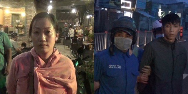 Các đối tượng Bùi Kiều Loan (bên trái) Nguyễn Hoàng Tú và Phạm Đình Nhân bị Công an bắt giữ.