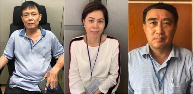 Các bị can Phạm Văn Thắng, Nguyễn Thị Ngọc Uyên, Trần Quốc Hùng (Từ trái qua)