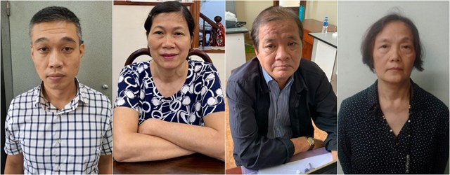 Các bị can Nguyễn Văn Quân, Nguyễn Thị Phương Liên, Nguyễn Đắc Phước, Đặng Thị Minh Chi (Từ trái qua)