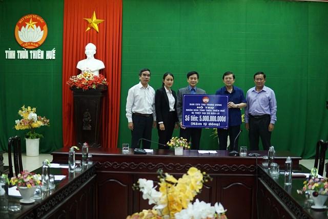 Ban Thường trực UBTƯ MTTQ Việt Nam hỗ trợ 5 tỷ đồng.