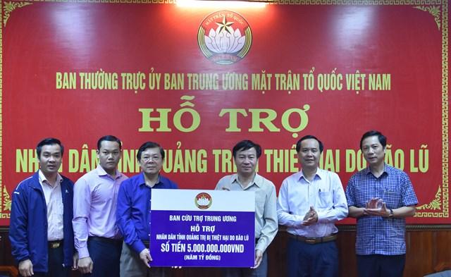 Ban Cứu trợ Trung ương hỗ trợ tỉnh Quảng Trị 5 tỷ đồng khắc phục hậu quả mưa bão gây ra.