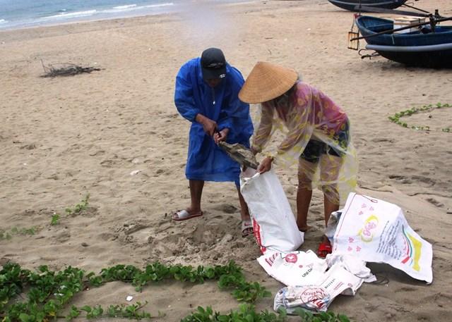 Người dân xã Tam Thanh xúc cát biển đem về chằng chống nhà cửa.
