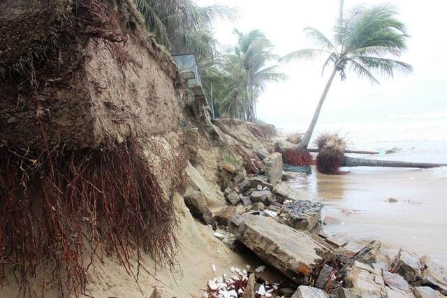 Nhiều đoạn bờ biển sạt lở tạo thành vực hố sâu.