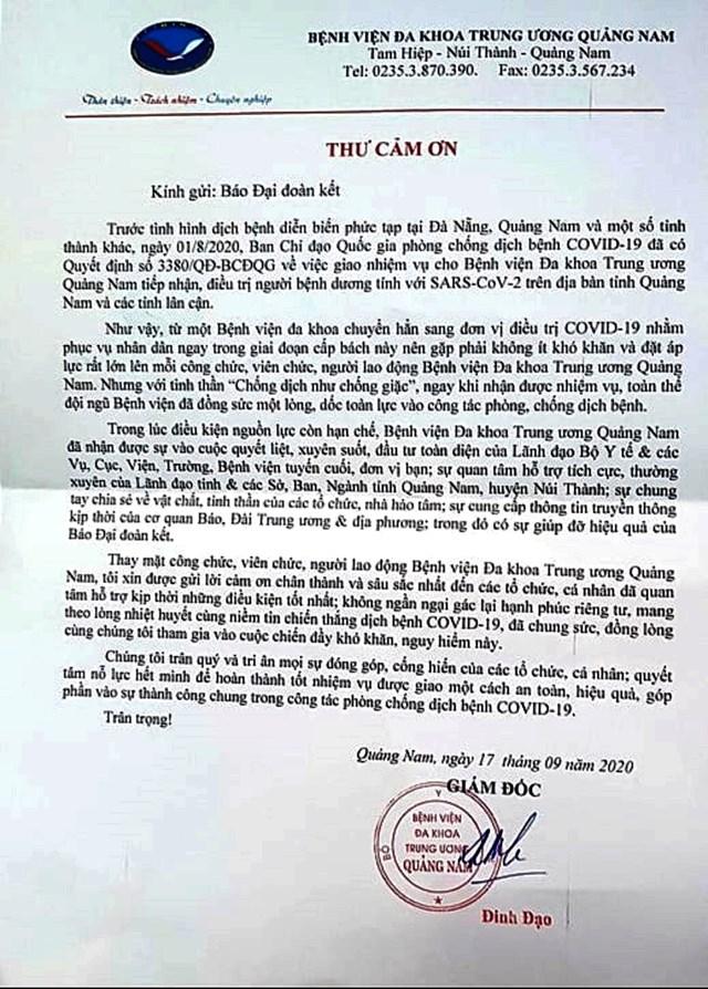 BVĐK TƯ Quảng Nam gửi thư cảm ơn báo Đại Đoàn Kết.