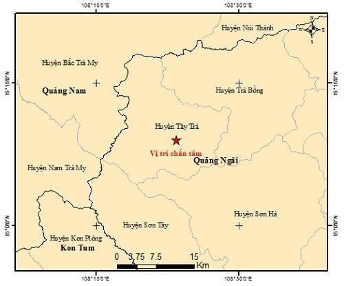 Vị trí tâm chấn động đất 3.2 ở khu vực huyện Tây Trà. (Ảnh Viện vất lý địa cầu)