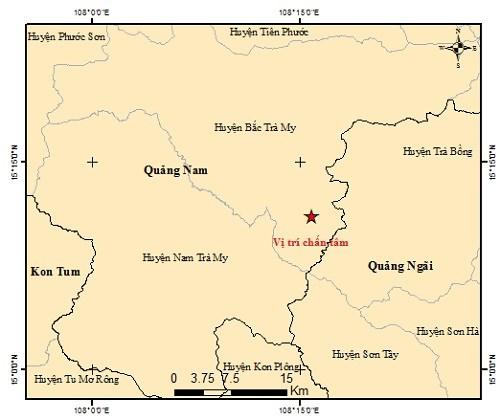 Vị trí nơi xảy ra động đất ở huyện Bắc Trà My. (Ảnh Viện vật ly địa cầu).