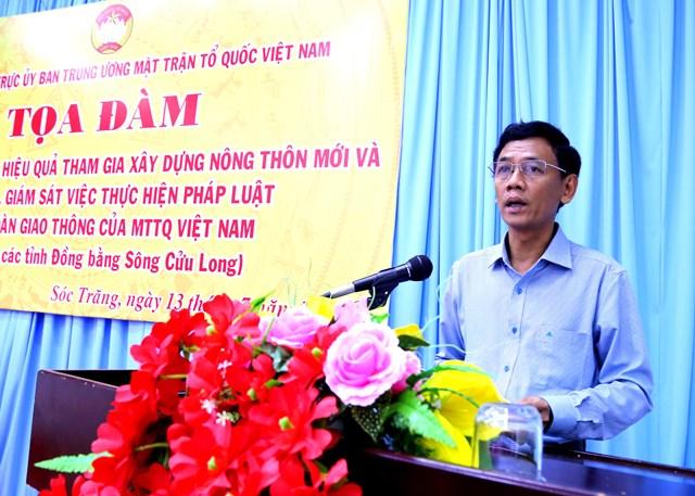 Ông Lâm Văn Mẫn, Phó Bí thư thường trực, Chủ tịch HĐND tỉnh Sóc trăng đánh giá đóng góp của Mặt trận tỉnh