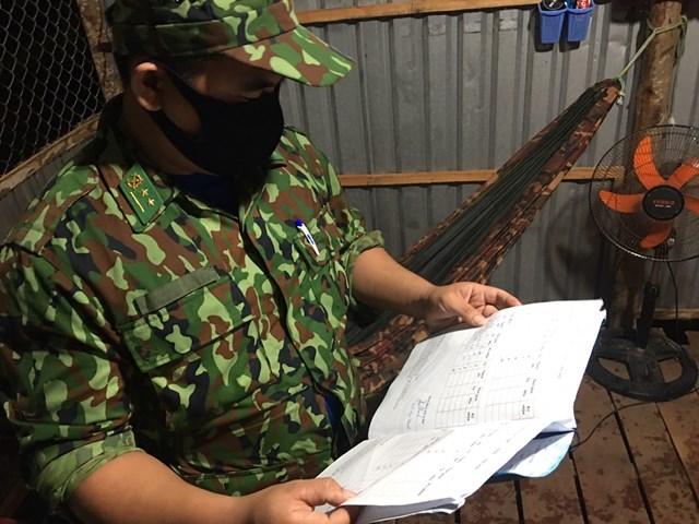 Đội trưởng kiểm soát con số và phân công các chiến sĩ cụ thể ca tuần tra, canh gác.