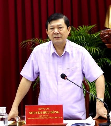Phó Chủ tịch UBTƯ MTTQ Việt Nam Nguyễn Hữu Dũng phát biểu tại buổi làm việc.