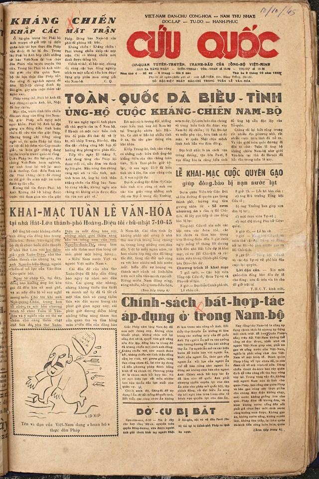 """Tờ báo cũ """"Cứu quốc""""."""