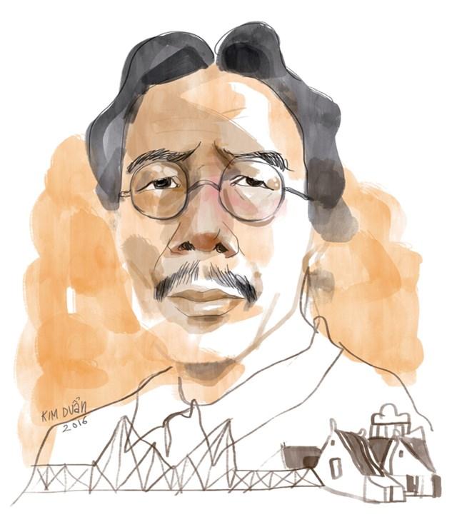Nhà báo Nguyễn Ngọc Tiến qua nét ký họa của Kim Duẩn.