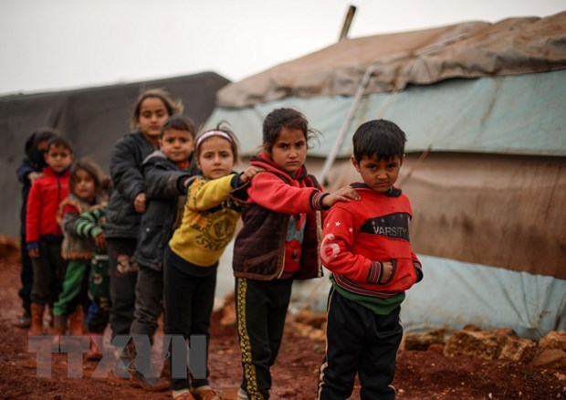 Trẻ em tại một trại tị nạn ở tỉnh Idlib, Syria. (Ảnh: AFP/TTXVN).
