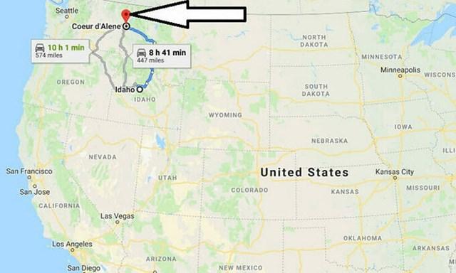 Vị trí Coeur d'Alene, bang Idaho, trên bản đồ. Đồ họa: Google Map.