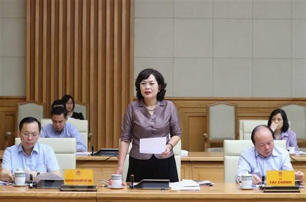 Phó Thống đốc Ngân hàng Nhà nước Nguyễn Thị Hồng phát biểu phát biểu. (Ảnh: Thống Nhất/TTXVN).