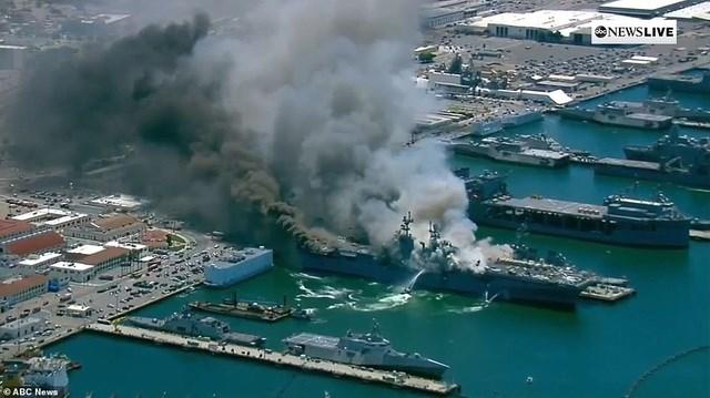 Hiện nguyên nhân dẫn tới vụ cháy vẫn chưa được công bố. Tàu USS Bonhomme Richard là một trong số tàu tấn công đổ bộ cỡ lớn của hải quân Mỹ, có khả năng chở theo nhiều trực thăng. (Ảnh: ABC).