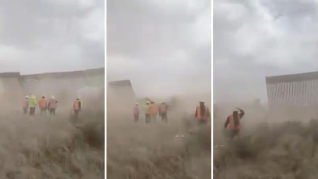 Đoạn video cho thấy nhiều đoạn tường biên giới bị gió bão đánh sập (Ảnh chụp màn hình).