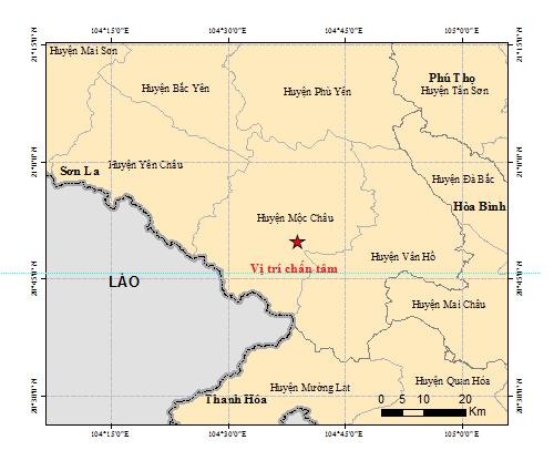 Trận động đất 5,3 độ vừa xảy ra ở Sơn La. Ảnh Google Map.