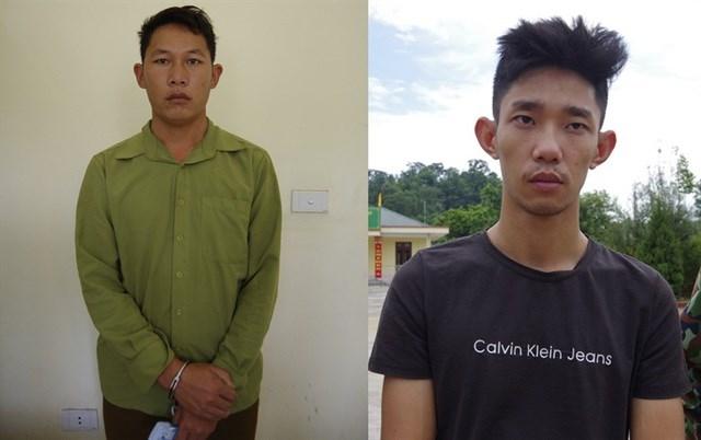 Đối tượng Vàng Seo Xóa và Phùng Thế Anh bị bắt giữ (Ảnh Trung Dũng - Biên phòng tỉnh Lào Cai).