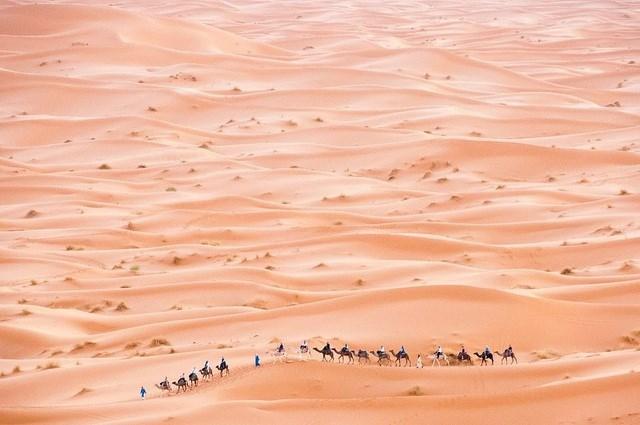"""Nhiếp ảnh gia người Croatia - Saša Huzjak thực hiện bức ảnh """"Đoàn bộ hành trên sa mạc"""" chụp tại Erg Chebbi, Morocco."""