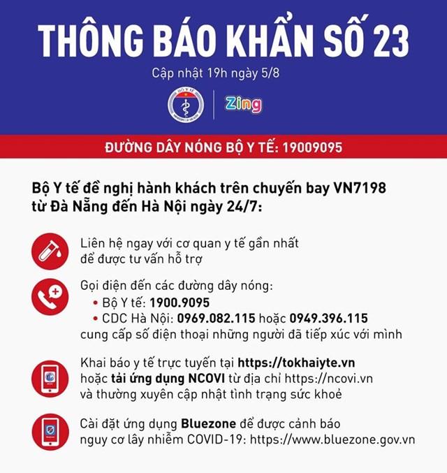 Thông báo khẩn số 23 của Bộ Y tế.