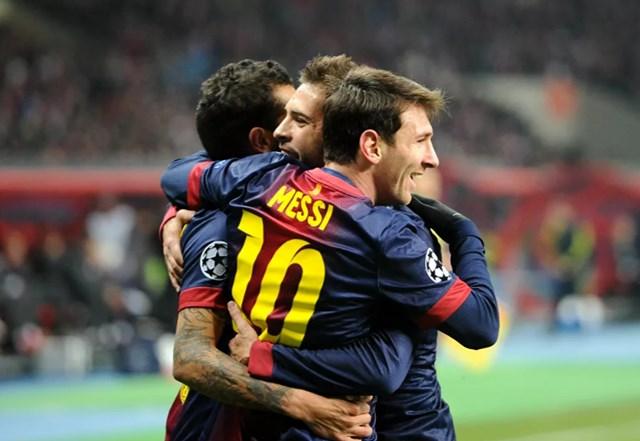 Messi ăn mừng bàn thắng trong trận đấu giữa Barcelona với Spartak của Nga tại giải vô địch UEFA 2012-2013.