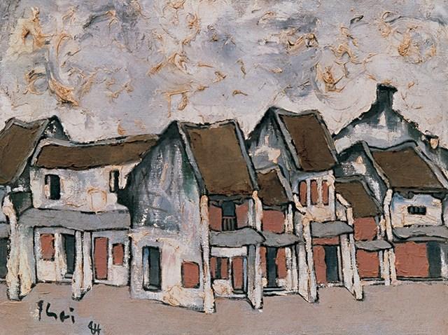 """Tác phẩm """"Phố Hàng Mắm"""" (sơn dầu, 1984)."""