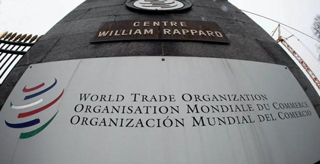 Biểu trưng của Tổ chức Thương mại Thế giới (WTO) tại Geneva, Thụy Sĩ. Nguồn: Sputnik.