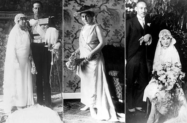 Từ trái qua: Công chúa Isabel Alfonsa của Bourbon-Two Sicilies trong đám cưới của cô với Bá tước Ba Lan Jan Kanty Zamoysk vào ngày 9/3/1929; Công chúa H Treaty Reuss của Greiz trong đám cưới của cô với Hoàng đế cuối cùng của Đức và Vua của Phổ Wilhelm II, vào ngày 1/11/1922; Nữ chính trị gia Tống Mỹ Linh cùng chồng, ông Tưởng Giới Thạch, ngày 1/12/1927.