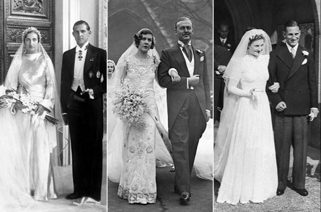Từ trái qua: Công chúa María de las Mercedes của Two Sicilies với chồng là Infante Juan của Tây Ban Nha, ngày 12/10/1935; Cô Nancy Beaton (người Anh) cùng chồng Sir John Smiley, ngày 18/1/1933; Cô Dorothy Mary Dennis sau đám cưới của cô với vận động viên cricket, đội trưởng đội tuyển quốc gia Anh Leonard Hutton, ngày 16/9/1939.