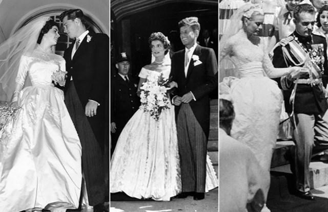 Từ trái qua: Nữ diễn viên Elizabeth Taylor với Conrad Hilton Jr. vào ngày 6/5/1950; Jacqueline Kennedy với Tổng thống tương lai của Mỹ, John Fitzgerald Kennedy vào ngày 12/9/1953; Nữ diễn viên Grace Kelly sau đám cưới của cô với Hoàng tử Monaco Rainier III vào ngày 19/4/1956.