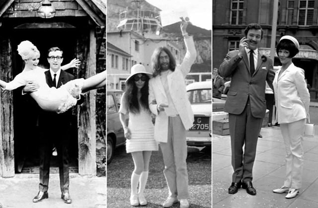 Từ trái qua: Nữ diễn viên Thụy Điển Britt Ekland với chồng, nam diễn viên người Anh Peter Sellers vào ngày 19/2/1964; Nghệ sĩ Nhật Bản Yoko Ono sau đám cưới của cô với nhạc sĩ, trưởng nhóm nhạc huyền thoại The Beatles, John Lennon, ngày 20/3/1969; Nữ diễn viên người Anh Amanda Barrie với chồng, nam diễn viên Robin Hunter, ngày 19/6/1967.