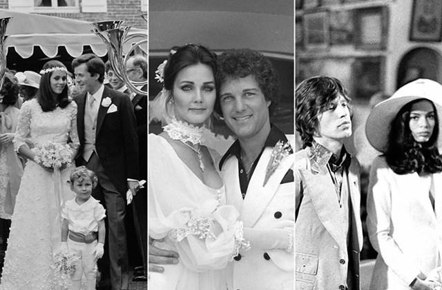 Từ trái qua: Con gái của nhà quý tộc Ý, Olympia Aldobrandini với chồng (Nam tước) David de Rothschild trong đám cưới vào mùa hè năm 1974 của họ ở Normandy; Nữ diễn viên Lynda Carter với chồng, nhà sản xuất Ron Samuels, ngày 28/5/1977; Nhà vận động nhân quyền Blanca Pérez-Mora Macías trong đám cưới của cô với nhạc sĩ nhạc người Anh, ca sĩ chính của nhóm nhạc Rolling Stones, Mick Jagger, ngày 12/5/1971.