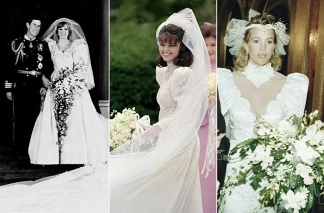 Từ trái qua: Công nương xứ Wales Diana trong đám cưới với Hoàng tử xứ Wales Charles, ngày 29/7/1981; Nhà báo người Mỹ Maria Shriver trước đám cưới của cô với nam diễn viên, Thống đốc tương lai của California, Arnold Schwarzenegger, vào ngày 26/4/1986; nữ diễn viên Janet Jones Gretzky trước đám cưới của cô với vận động viên khúc côn cầu người Canada Wayne Gretzky, ngày 16/7/1988.