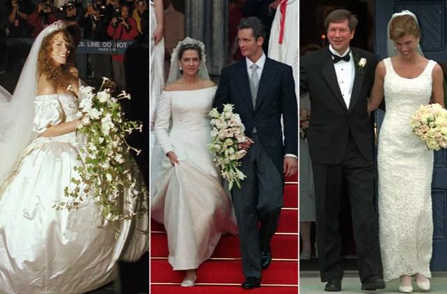 Từ trái qua: Ca sĩ Mariah Carey kết hôn với nhà sản xuất Tommy Mottola vào ngày 5/61993; Infanta Cristina của Tây Ban Nha trong đám cưới với cầu thủ bóng ném Tây Ban Nha Iñaki Urdangarin,ngày 4/10/1997; Nữ doanh nhân người Mỹ Karen Waldbillig Kasich và chính trị gia người Mỹ John Kasich, ngày 22/3/1997.