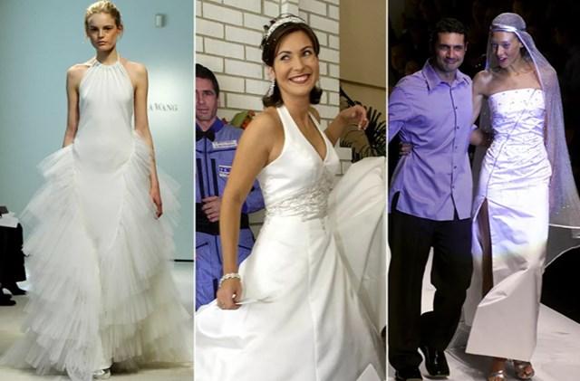 Từ trái qua: Một người mẫu trình diễn chiếc váy từ bộ sưu tập mùa xuân của Vera Wang tại Tuần lễ Áo cưới New York, ngày 17/4/2008; Yekaterina Dmitrieva Malenchenko tạo dáng gần một bức tượng bằng bìa cứng của chồng cô, phi hành gia, Anh hùng dân tộc của Nga, Yuri Malenchenko trong lễ cưới được tổ chức qua liên kết vệ tinh vào ngày 10/8/2003; Nhà thiết kế người Ý Antonio D'Amico với một người mẫu Pháp trong buổi trình diễn ở Milan vào ngày 26/9/1999.