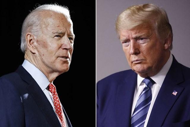 Tổng thống Mỹ đương nhiệm Trump, phải, và ứng viên đảng Dân chủ Biden. Ảnh: AP.