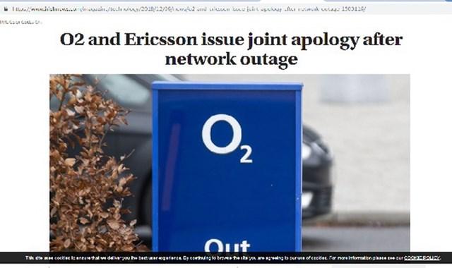 Ericsson và nhà mạng O2 xin lỗi khách hàng về sự cố lỗi phần mềm (ảnh chụp màn hình).