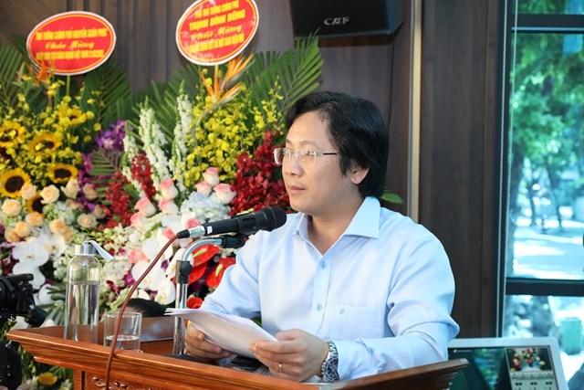 Phó Tổng Biên tập Báo Đại Đoàn Kết Lê Anh Đạt phát biểu tại buổi Lễ. (Ảnh: Quang Vinh).