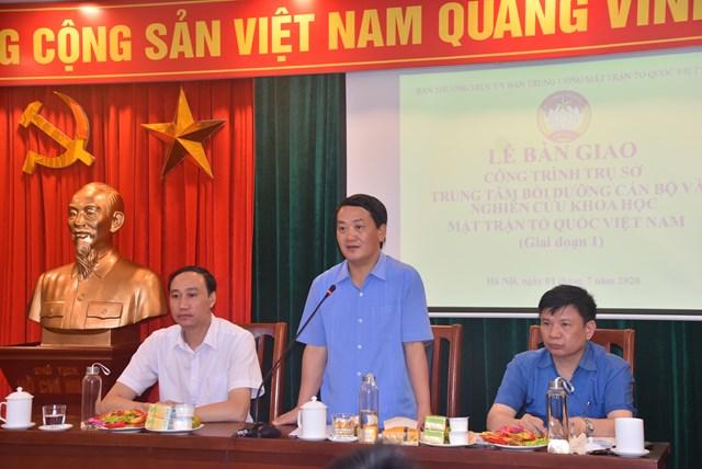 Phó Chủ tịch - Tổng Thư ký UBTƯ MTTQ Việt Nam Hầu A Lềnh phát biểu tại buổi lễ. Ảnh: Trung Quân.