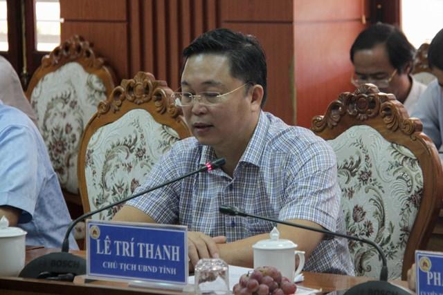Ông Lê Trí Thanh, Chủ tịch UBND tỉnh Quảng Nam phát biểu tại buổi làm việc.