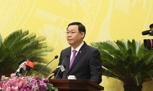 Bí thư Thành ủy Hà Nội Vương Đình Huệ phát biểu tại phiên khai mạc.