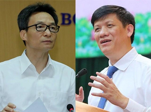 Phó Thủ tướng Vũ Đức Đam (trái) và Quyền Bộ trưởng Bộ Y tế Nguyễn Thanh Long. Ảnh: Dân trí.