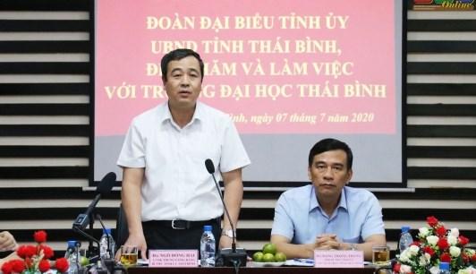 Bí thư Tỉnh ủy Thái Bình Ngô Đông Hải phát biểu tại buổi làm việc với Trường Đại học Thái Bình. Ảnh: Báo Thái Bình.