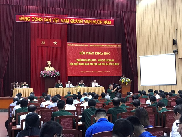 Gần 200 học giả, các nhà nghiên cứu, tướng lĩnh quân đội, nhân chứng lịch sử và đại diện lãnh đạo về dự Hội thảo. (Ảnh: Hồng Phúc).