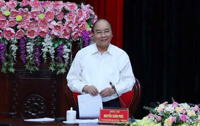 Thủ tướng Nguyễn Xuân Phúc phát biểu tại buổi làm việc. Ảnh VGP/Quang Hiếu.