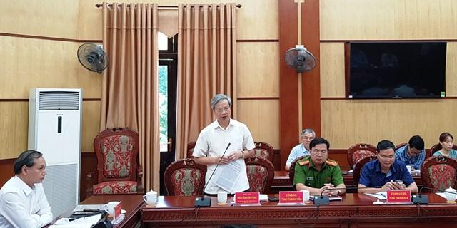 Phó Chủ tịch Ủy ban MTTQ Việt Nam tỉnh Thanh Hóa Nguyễn Văn Tòng phát biểu tại buổi làm việc.