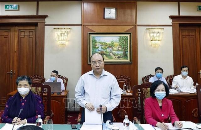 Thủ tướngNguyễn Xuân Phúc phát biểu tại cuộc làm việc với Ban Thường vụ Tỉnh ủy Bà Rịa - Vũng Tàu. Ảnh: TTXVN.